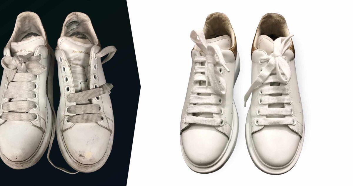 Voor en na witte Alexander Mc Queen sneakers